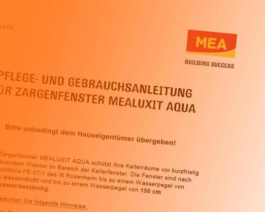 Pflege und Gebrauchsanleitung für Zargenfenster Mealuxit Aqua