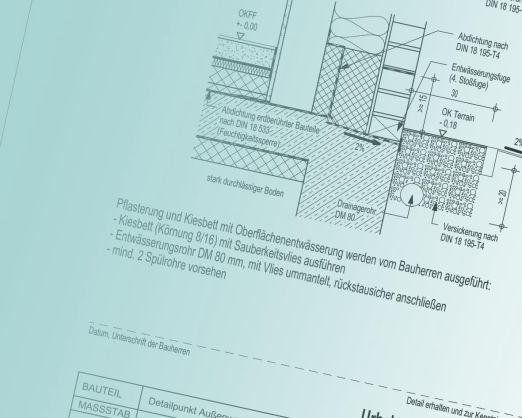 Sockeldetail für Bauherren - Pflasterung und Kiesbett