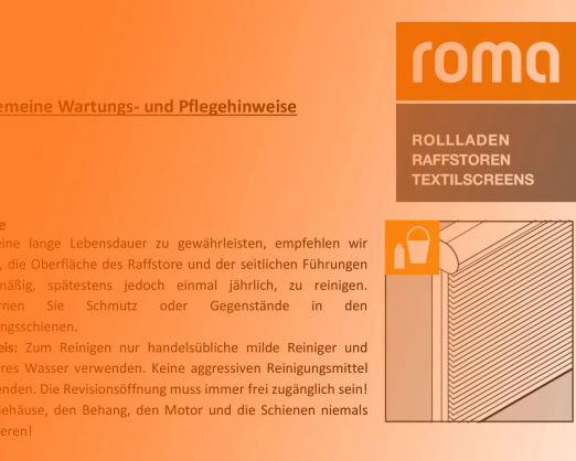 Wartungs und Pflegehinweise roma Rollladen und Raffstores