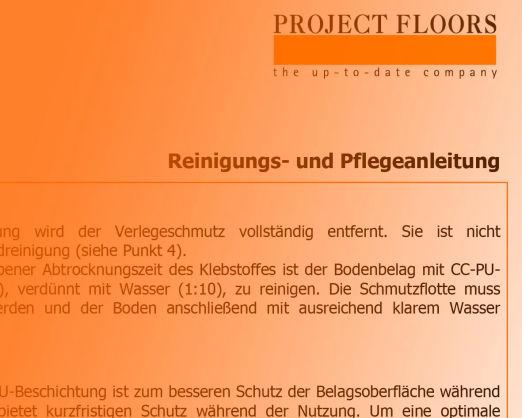 Reinigung und Pflegeanleitung Projekt Floors Fußböden