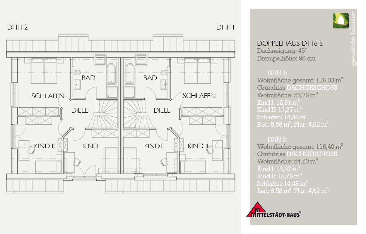 Grundriss Doppelhaus 116 S OG
