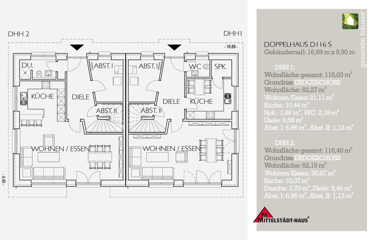 Grundriss Doppelhaus 116 S EG