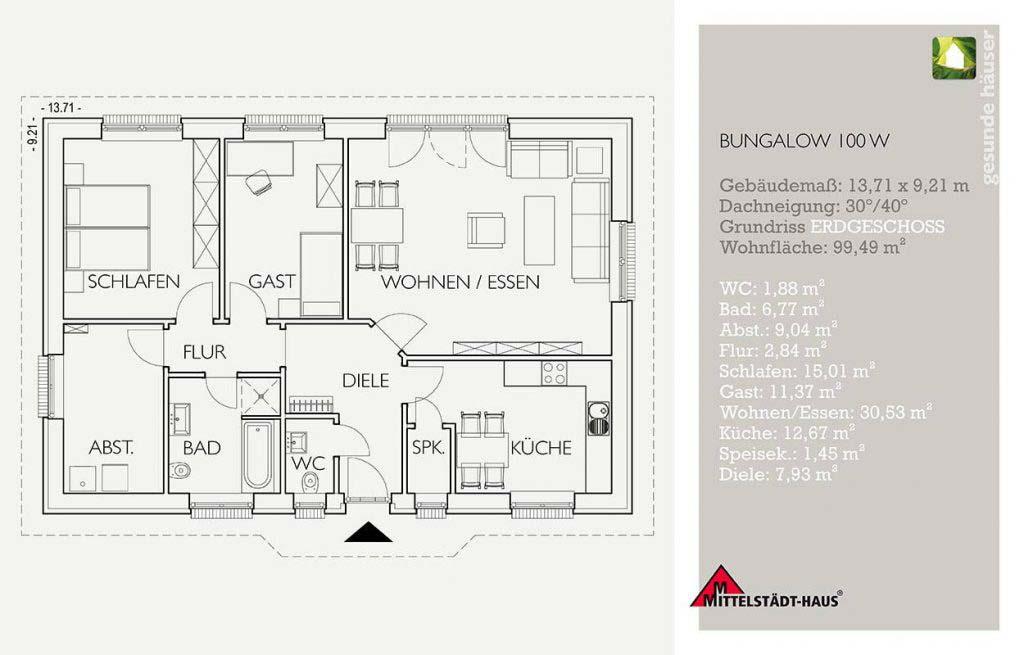 Bungalow 100w Grundriss Erdgeschoss