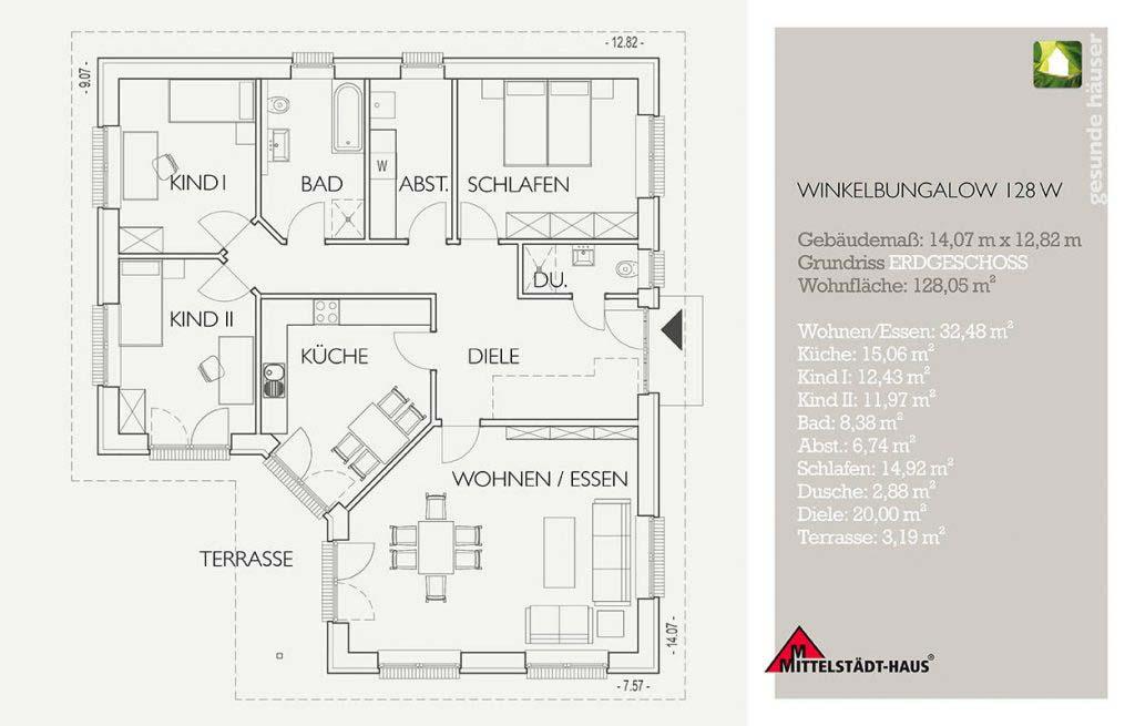 Bungalow 128w Grundriss Erdgeschoss