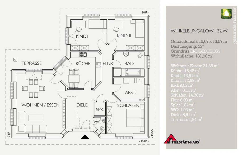 Bungalow 132w Grundriss Erdgeschoss