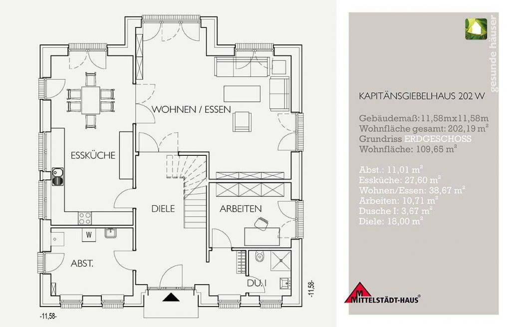 Kapitaensgiebelhaus 202ks Grundriss Erdgeschoss