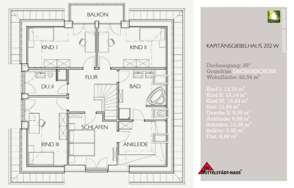 Kapitaensgiebelhaus 202ks Grundriss Obergeschoss