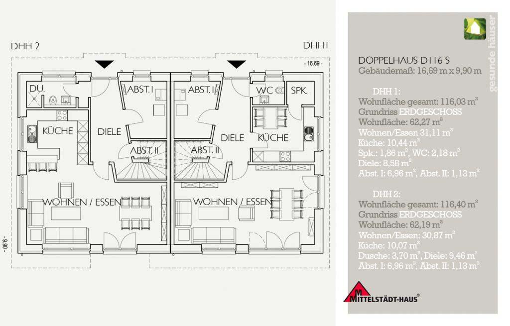 Doppelhaus 116D Grundriss Erdgeschoss