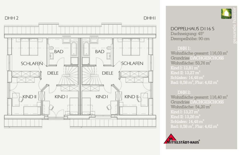 Doppelhaus 116D Grundriss Obergeschoss