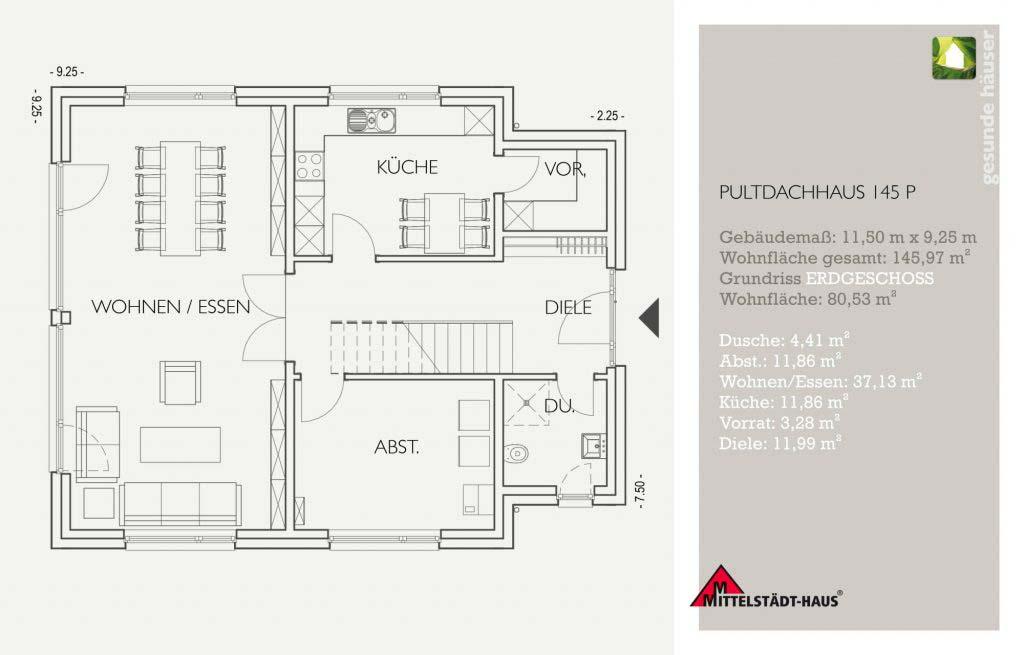Pultflachdachhaus 145p Grundriss Erdgeschoss