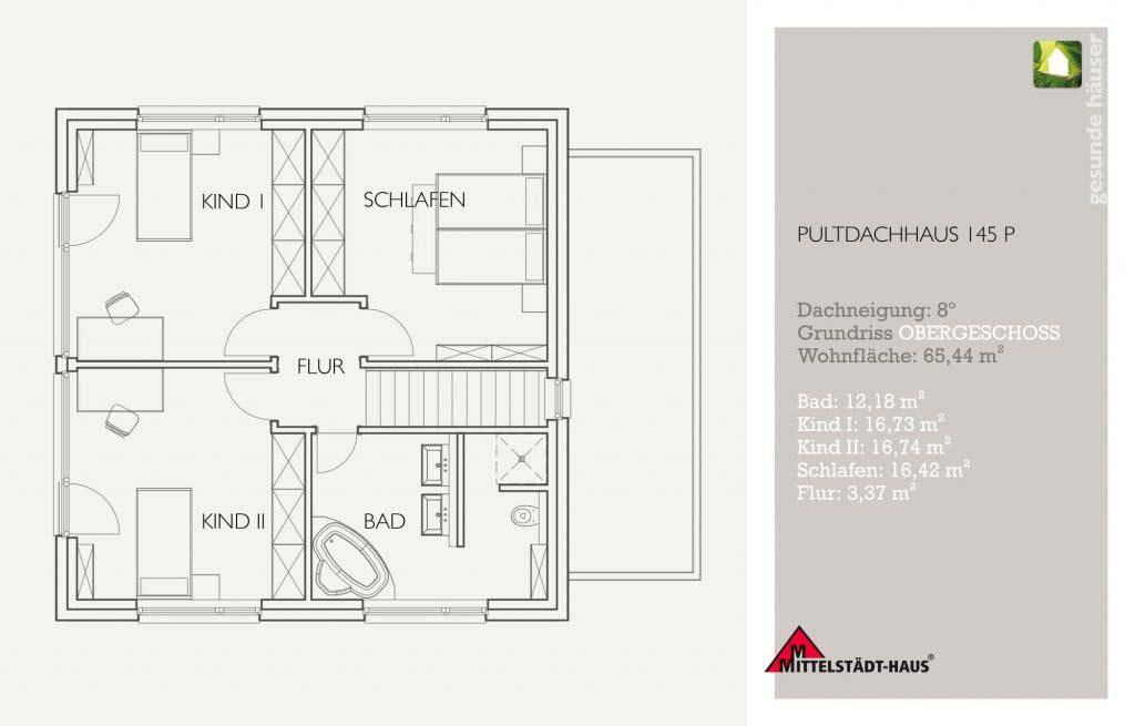 Pultflachdachhaus 145p Grundriss Obergeschoss