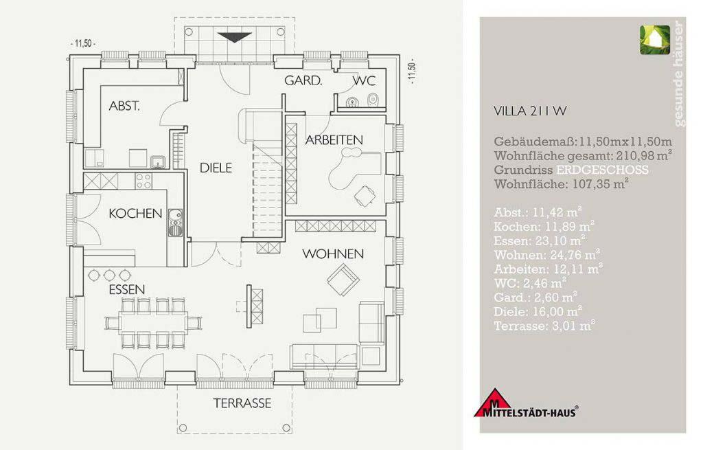 Stadtvilla 211w Grundriss Erdgeschoss