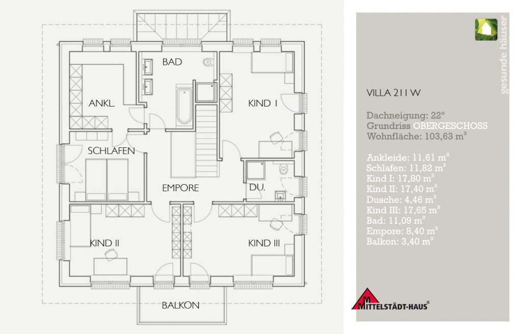 Stadtvilla 211w Grundriss Obergeschoss